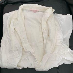Victoria Secret White Pajama long sleeved top